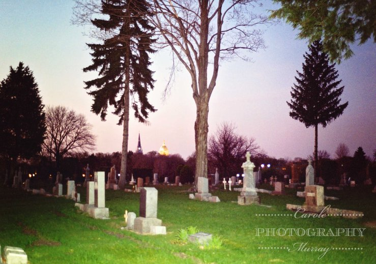 Cedar Grove Cemetery at dusk watermarked